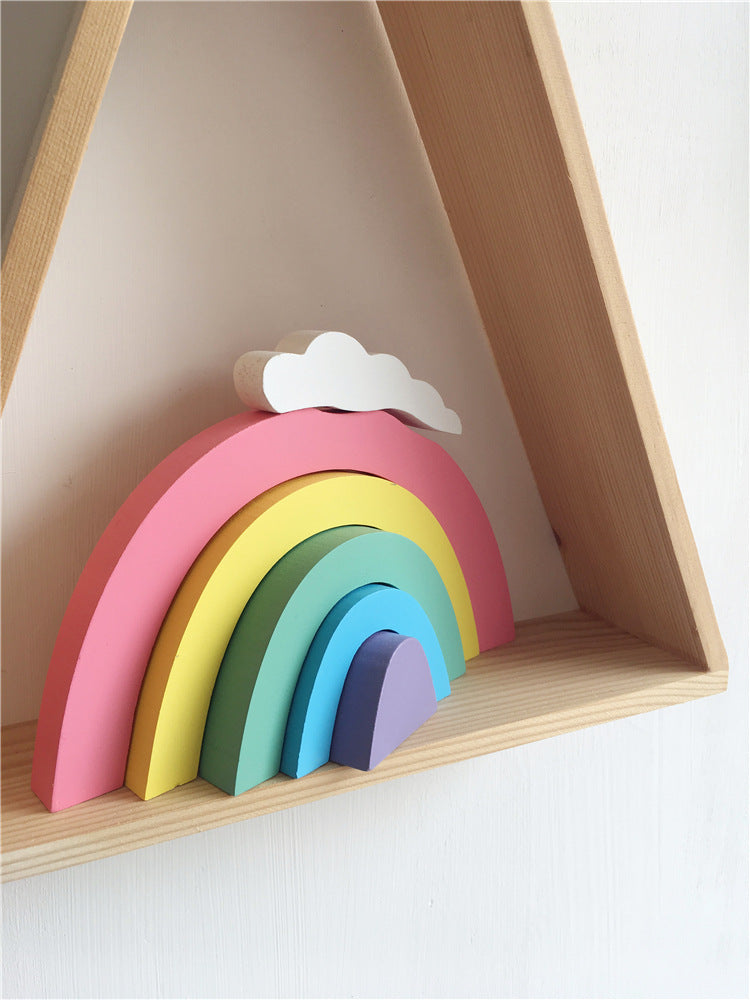 Rainbow Intellectual Building Blocks Set Diy Wood Toys Fun Educational Toy Scandinavian Decor