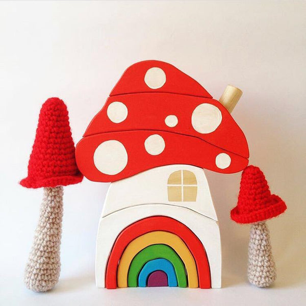 Rainbow Color 9 Pcs Wooden Mushroom Building Blocks Playroom Decor Baby Toys
