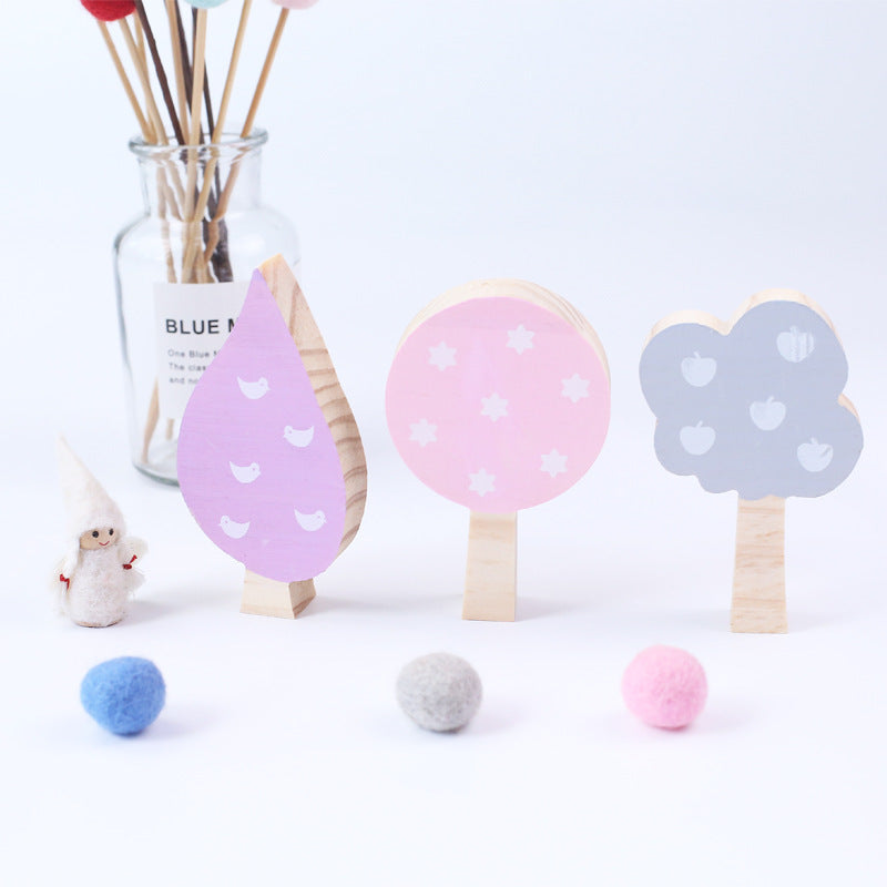 Fresh Color 3 Pcs Wooden Tree Funny Pattern Building Blocks Playroom Decor Baby Toys