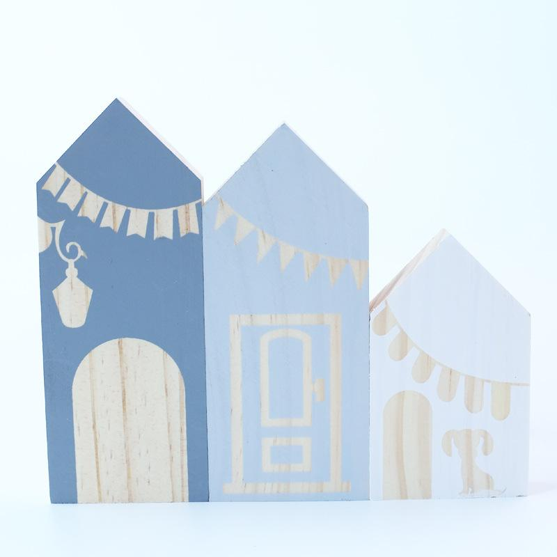 Fresh Color 3 Pcs Wooden House Building Blocks Playroom Decor Baby Toys