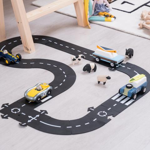 DIY Plastic Racing Track Funny Road Print Built Up Car Track Puzzle Toy for Kids