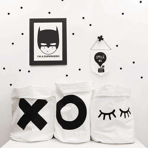 Canvas XXOO Rabbit Eyes Print Toy Storage Hanging Bag for Kids