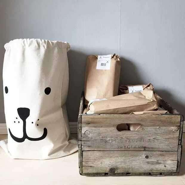 Drawstring Canvas Cloth Folding Laundry Toy Storage Bag Basket Home Decor