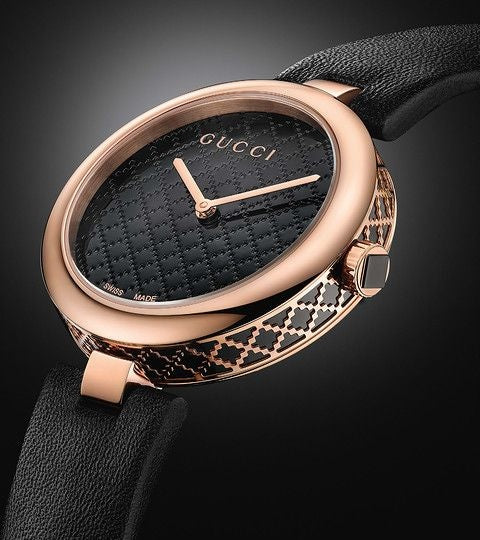 bbb4f8cc361 Gucci Diamatissima Black Lacquered Dial Ladies Watch – On our Watch