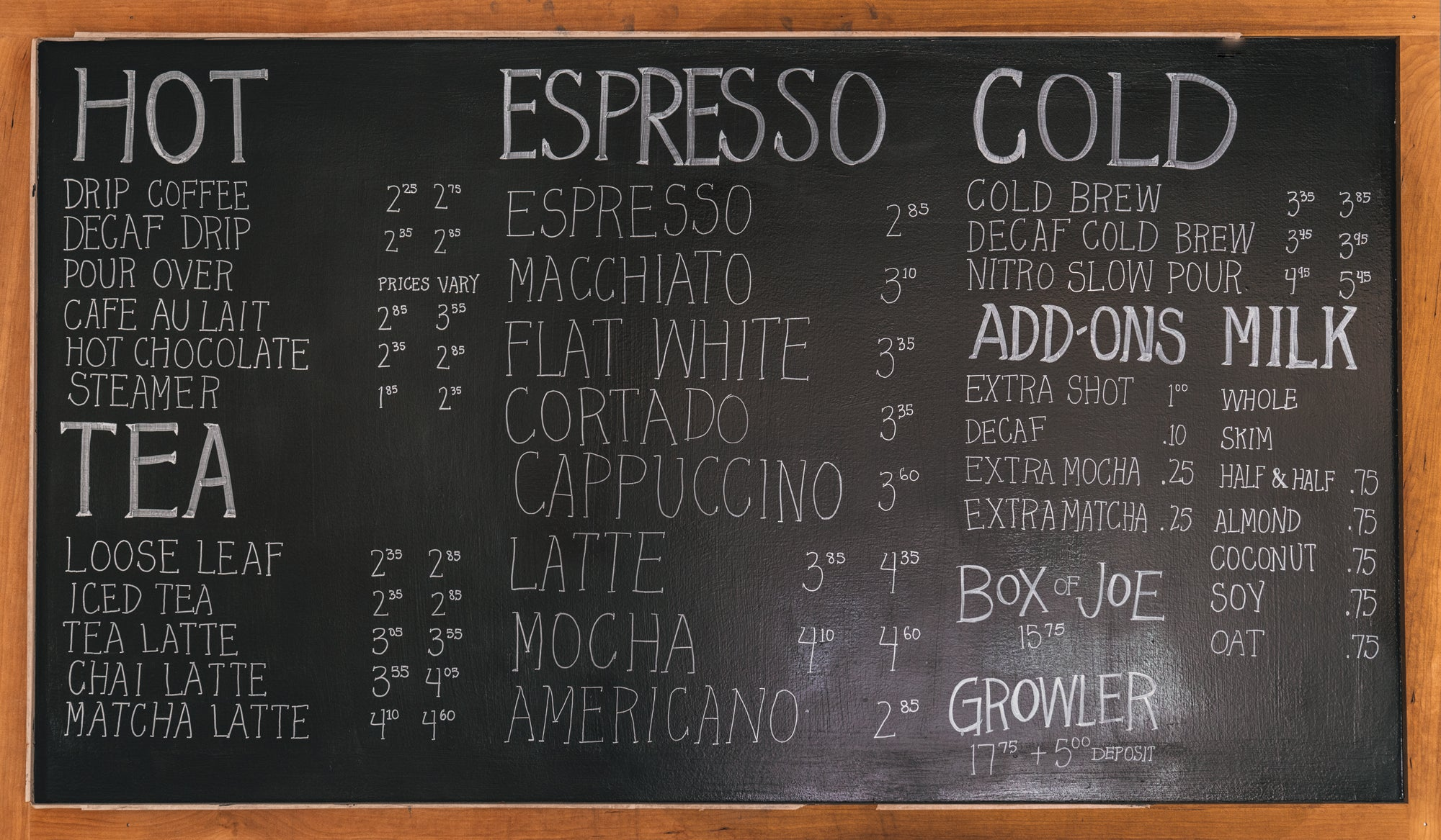 Black River Roasters Menu