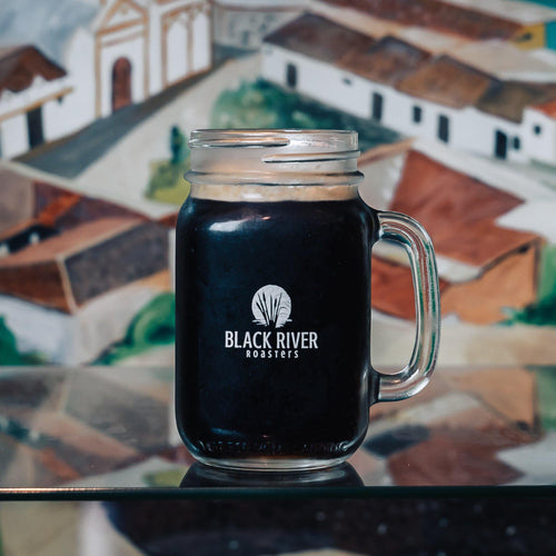 Black River Roasters 16 oz Mason Jar Glass
