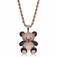 Load image into Gallery viewer, MP Bear iced out CZ diamond pendant & necklace
