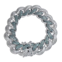 Load image into Gallery viewer, MP Emerald green iced CZ diamond 18mm bracelet
