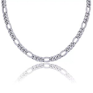 MP Iced out figaro cz diamond chain necklace