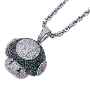 MP Super Mario mushroom iced out pendant & Necklace