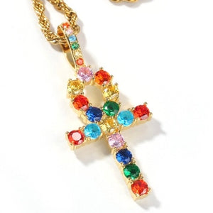MP Colours gems cross iced CZ diamond pendant
