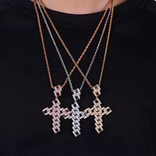 Load image into Gallery viewer, MP Chain cross CZ diamond pendant & necklace