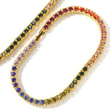 Load image into Gallery viewer, MP Colourful CZ diamond 4mm tennis chain bracelet