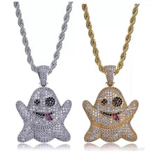Load image into Gallery viewer, MP Emoji Ghost iced CZ diamond pendant