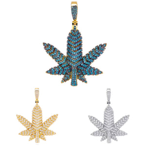 MP Cannabis iced CZ diamond pendant
