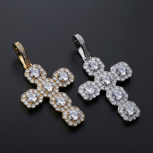 MP Octagon cross Iced CZ diamond pendant