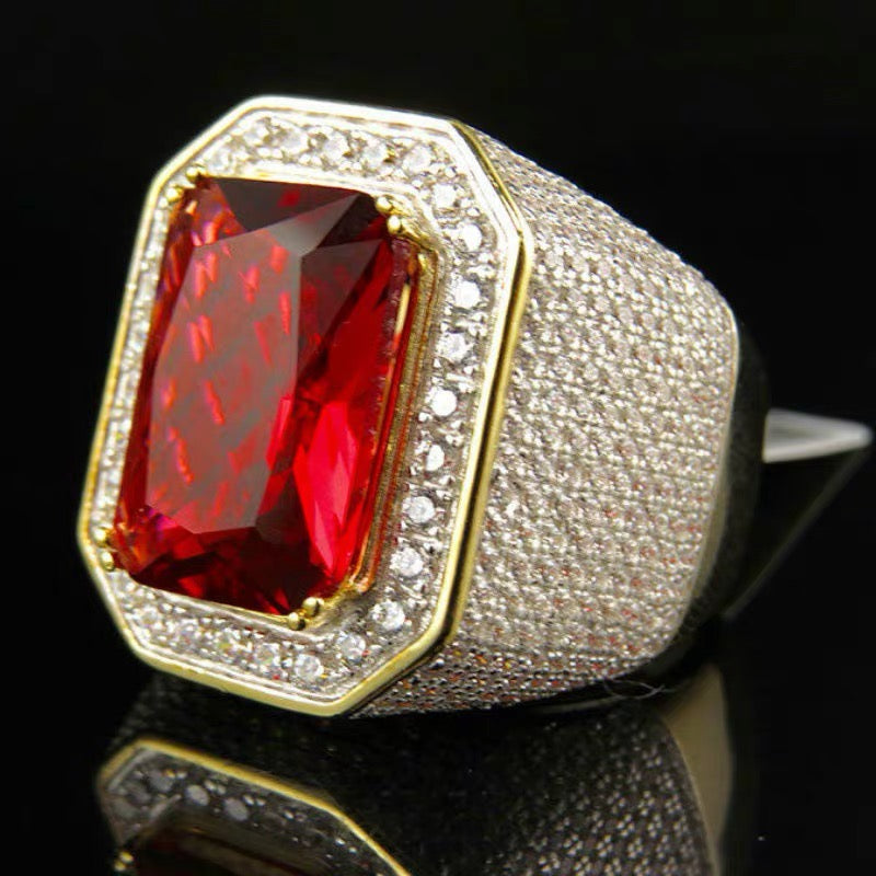 MP Ruby Octagon iced CZ diamond pendant