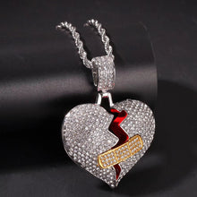 Load image into Gallery viewer, MP Tape heart iced CZ diamond  pendant