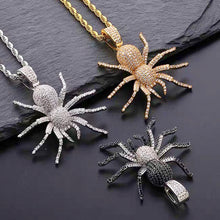 Load image into Gallery viewer, MP spider iced CZ diamond Pendant & Necklace