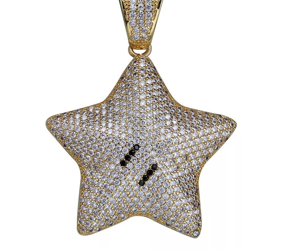MP Super Mario Star iced out pendant & necklace