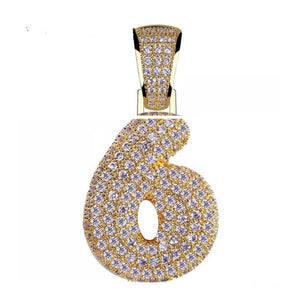 MP Iced out Bubble numbers CZ diamond pendant & Necklace