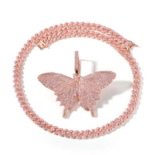 Load image into Gallery viewer, MP Butterfly pink Iced CZ diamond pendant & necklace