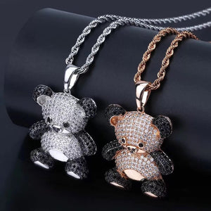 MP Bear iced out CZ diamond pendant & necklace