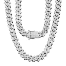 Load image into Gallery viewer, MP Square chain Iced CZ diamond 18mm necklace