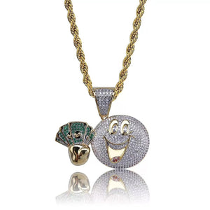 MP Monopoly iced out CZ diamond pendant & necklace