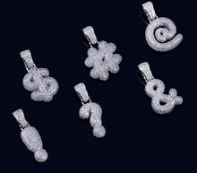 Load image into Gallery viewer, MP Bubble symbols Iced out CZ diamond Pendant & Necklace