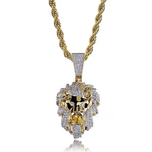 MP Lion iced CZ diamond pendant