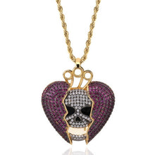 Load image into Gallery viewer, MP Heart & bones iced CZ diamond pendant