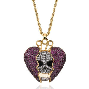 MP Heart & bones iced CZ diamond pendant