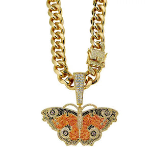 MP Butterfly pattern Iced CZ diamond pendant