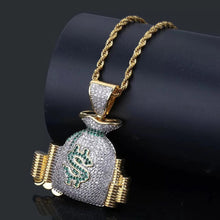 Load image into Gallery viewer, MP Moneybag iced out pendant & necklace