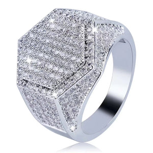 MP Men style Octagon iced CZ diamond ring
