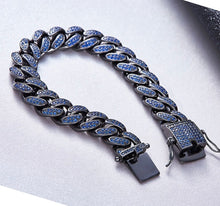 Load image into Gallery viewer, MP Blue iced CZ diamond 14mm bracelet