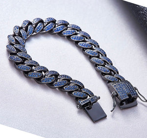 MP Blue iced CZ diamond 14mm bracelet