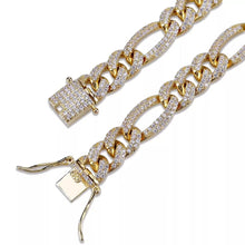 Load image into Gallery viewer, MP Iced out figaro cz diamond chain necklace