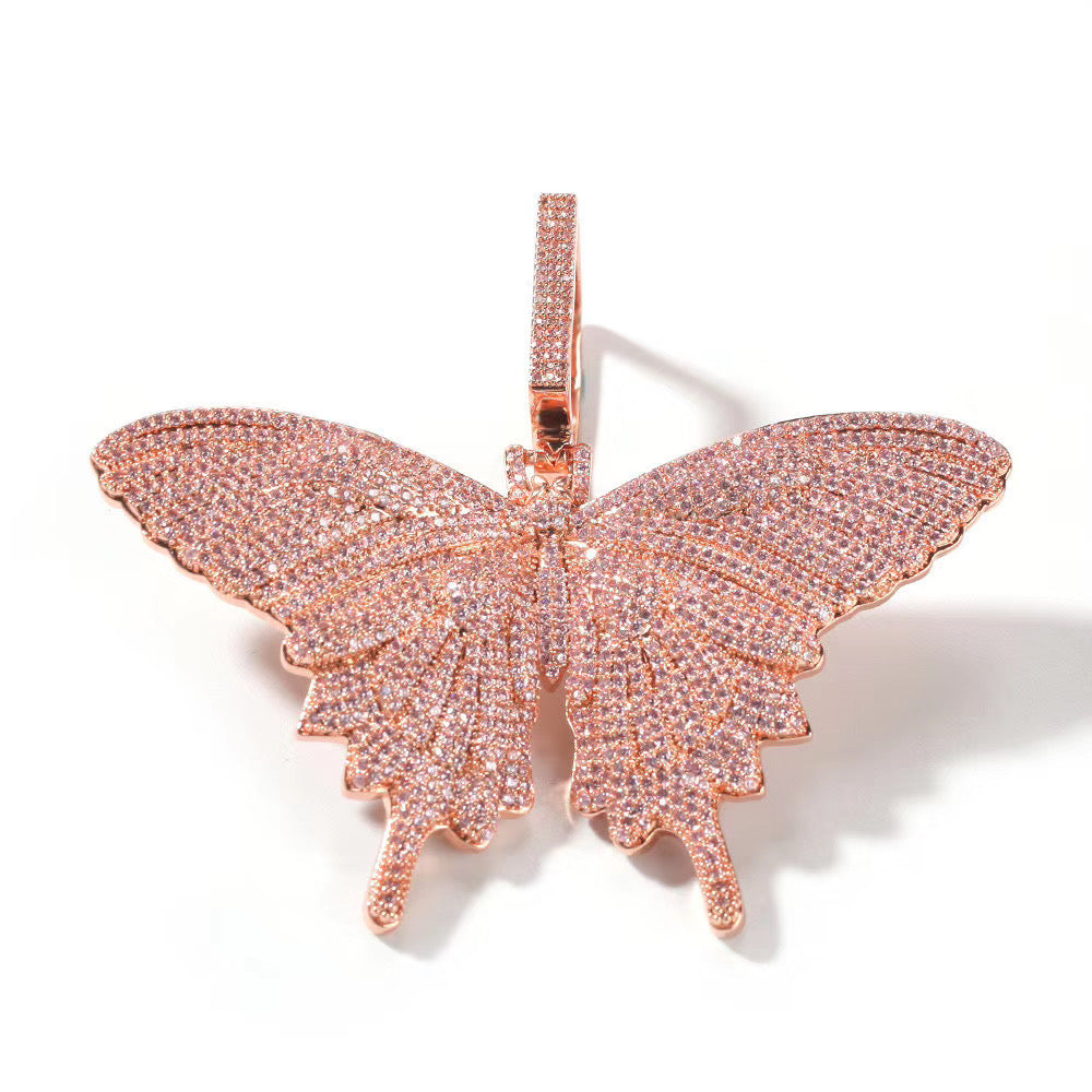 MP Butterfly pink Iced CZ diamond pendant & necklace