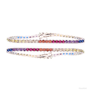 MP Multicolour iced CZ diamond Tennis chain 2mm bracelet