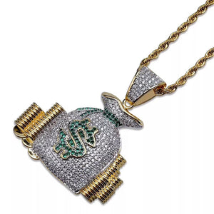 MP Moneybag iced out pendant & necklace