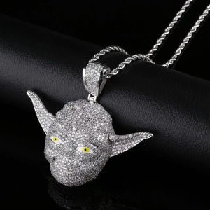 MP Yoda iced CZ diamond pendant