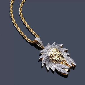 MP Indiana head iced out pendant & necklace