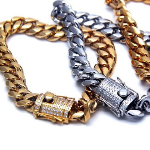 MP iced out buckle cuban link bracelet