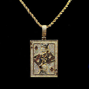 MP Cards iced out diamond pendant