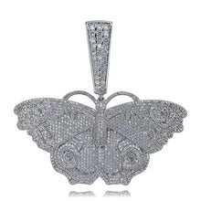 Load image into Gallery viewer, MP Butterfly pattern Iced CZ diamond pendant
