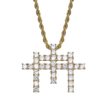 Load image into Gallery viewer, MP Triplet cross iced CZ diamond pendant