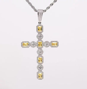 MP Yellow gems cross iced CZ diamond pendant