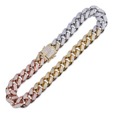 Load image into Gallery viewer, MP Cuban link 3-colours iced out 14mm necklace